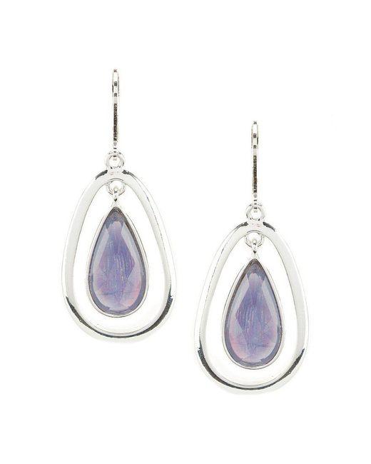 Anne Klein | Multicolor Purple Stone Teardrop Earrings | Lyst