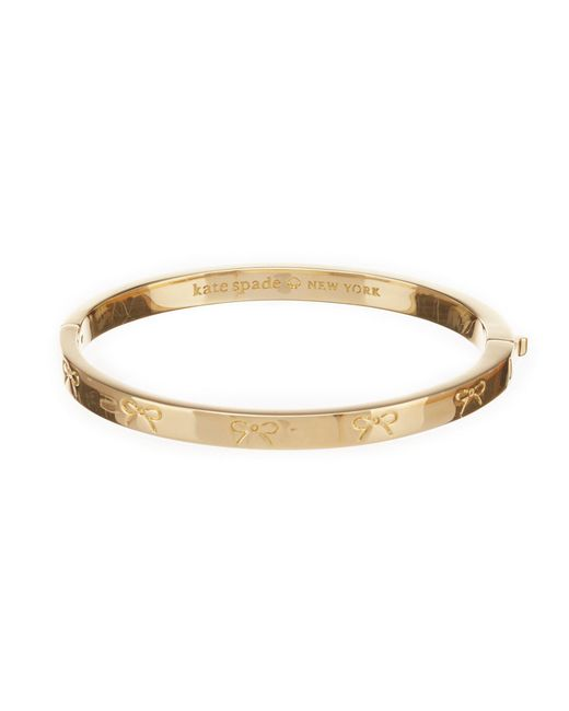 Kate Spade - Metallic Heavy Metals Engraved Bow Bangle Bracelet - Lyst