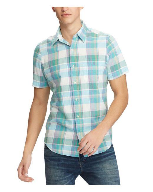 Polo Ralph Lauren - Blue Big & Tall Madras Plaid Short-sleeve Woven Shirt for Men - Lyst