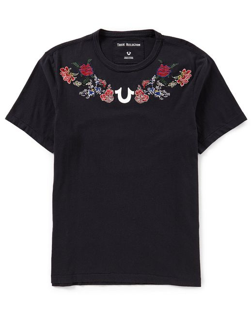 True Religion - Black Embroidered Floral Short-sleeve T-shirt - Lyst