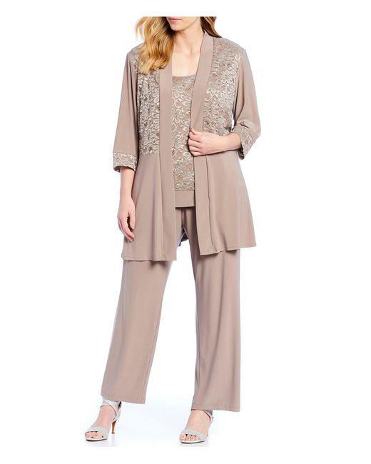 R & M Richards Multicolor R M Richards Plus Size 2-piece Lace Pant Set