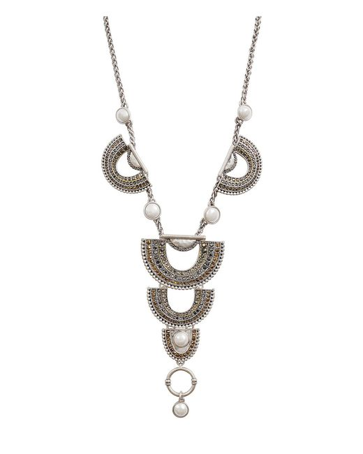 Lucky Brand - Metallic Pave Statement Necklace - Lyst