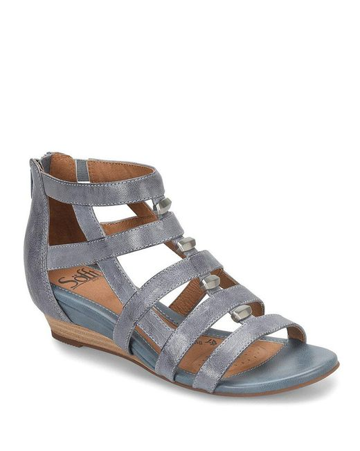 Söfft - Black Rio Leather Caged Metal Detail Gladiator Wedges - Lyst