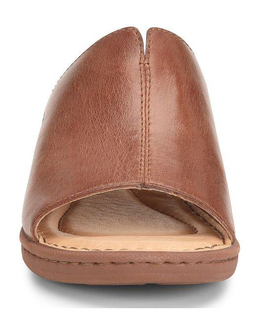81e9490734cc ... Born - Brown Bernt Leather Wedge Slide Sandals - Lyst ...