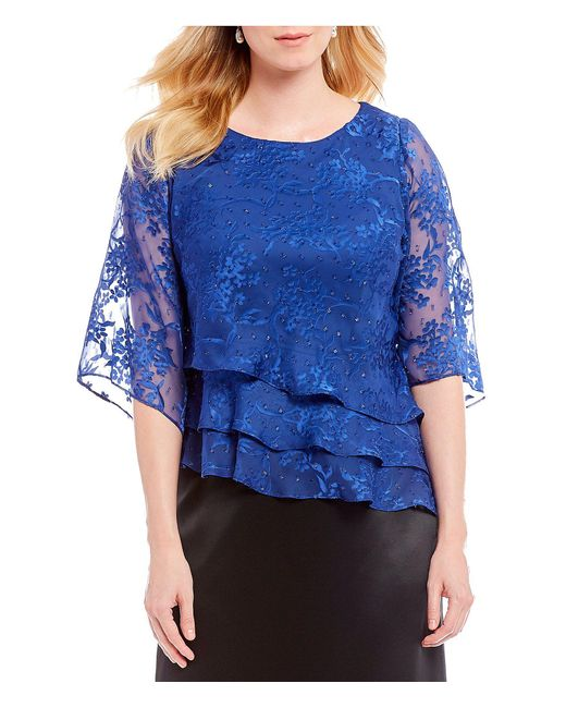 Alex Evenings - Blue Lace 3/4 Illusion Sleeve Asymmetric Tiered Blouse - Lyst