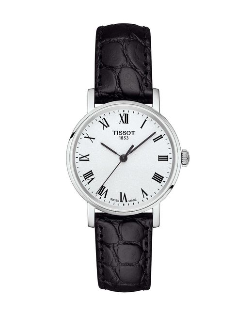 Tissot - Everytime Black Leather Strap Watch for Men - Lyst