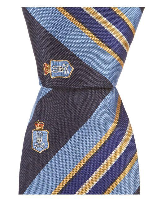 "Psycho Bunny - Blue Shield Stripe Traditional 3.25"" Silk Tie for Men - Lyst"