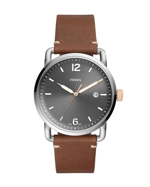 Fossil - The Commuter Three-hand Date Gray Dial Light Brown Leather Watch - Lyst