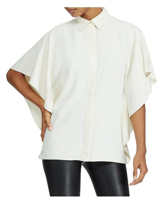 Lauren by Ralph Lauren | White Petite Draped Button-up Top | Lyst
