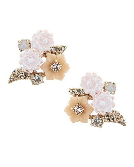 Marchesa - Metallic Floral Button Statement Earrings - Lyst