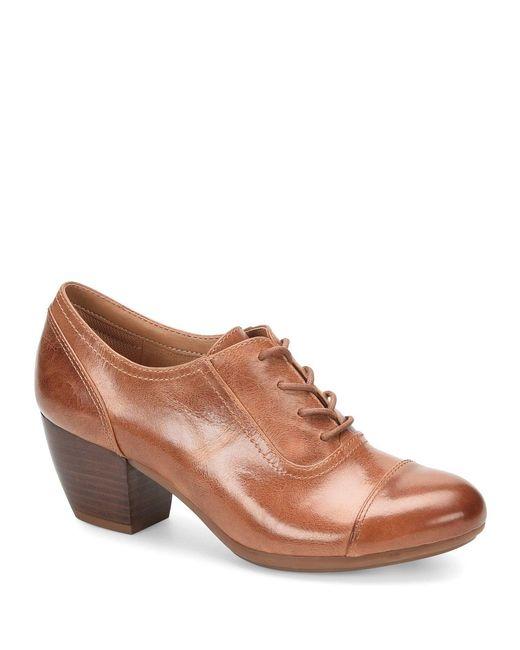 Comfortiva Brown Angelique Smooth Leather Cap Toe Block Heel Oxford Pumps