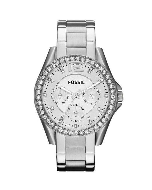 Fossil | Metallic Riley Silver Glitz Crystal Detail Stainless Steel Bracelet Multifunction Watch | Lyst