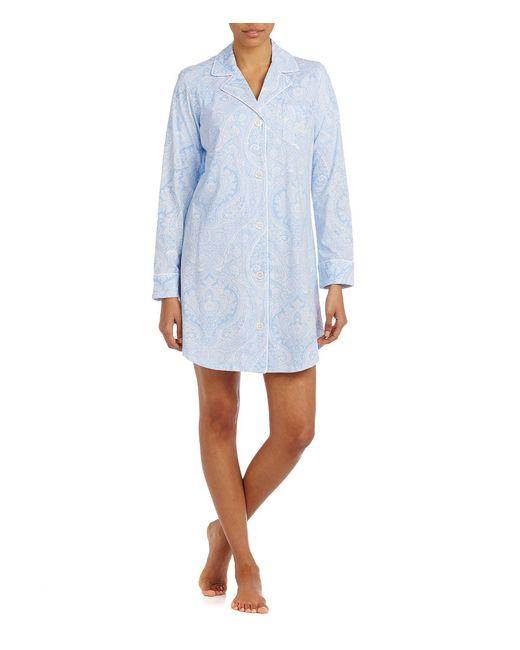 Lauren by Ralph Lauren - Blue Long-sleeve Classic Notch-collar Knit Sleepshirt - Lyst