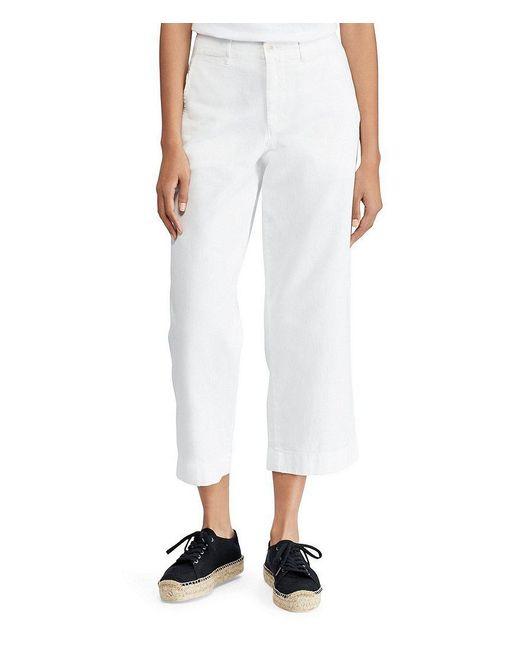 Polo Ralph Lauren - White Cropped Twill Wide-leg Pants - Lyst