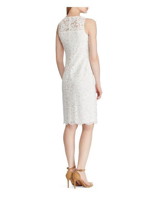 bcacc5a974c ... Lauren by Ralph Lauren - White Sleeveless Lace Sheath Dress - Lyst ...