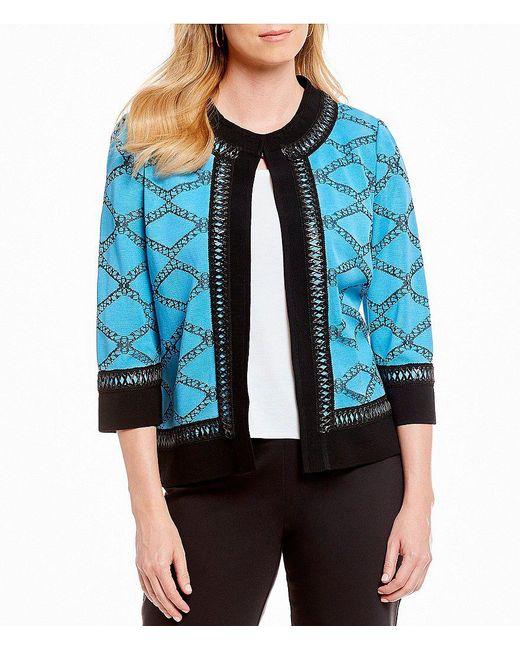 Ming Wang - Black Jewel Neck Faux Leather Trim Jacket - Lyst