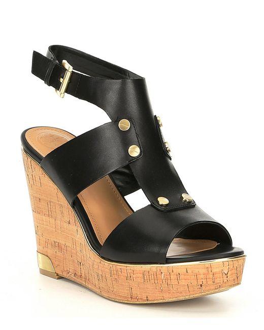 Halla In Lyst Guess Black Cork Leatheramp; Sandals Wedge fIg6vb7Yy