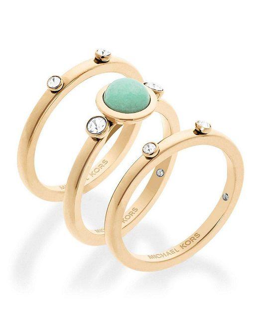 Michael Kors | Metallic Easy Opulence Jade Stacked Ring Set | Lyst