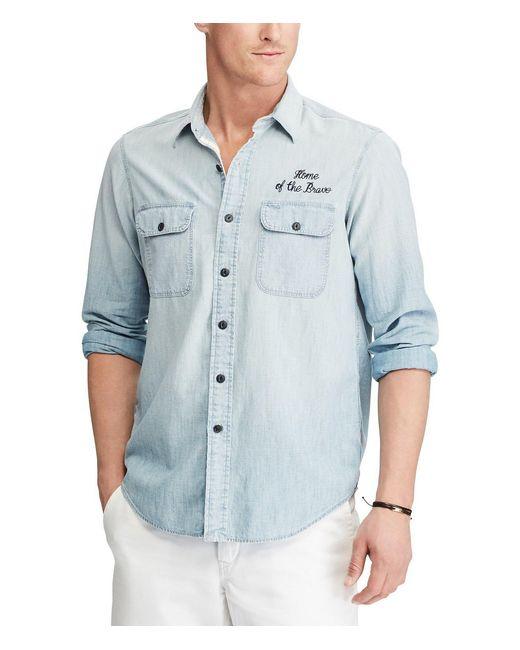 Polo Ralph Lauren - Blue Americana Embroidered Long-sleeve Woven Shirt for Men - Lyst