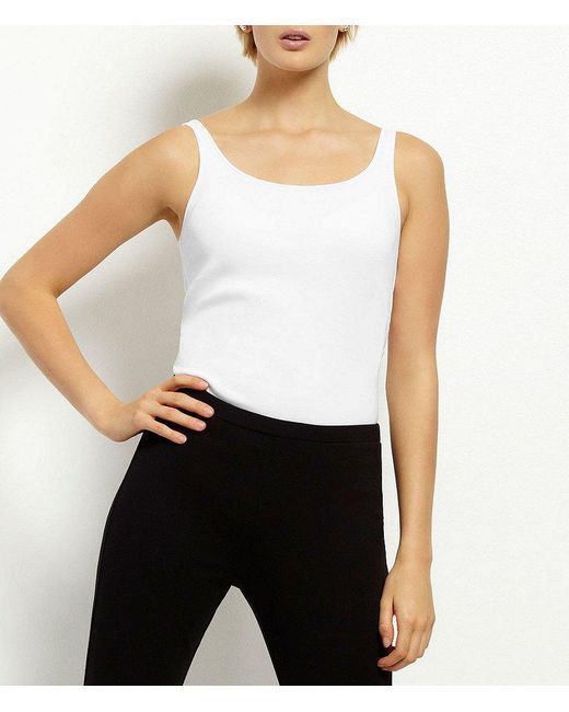 Eileen Fisher   White Petite Ribbed Organic Cotton Tank   Lyst