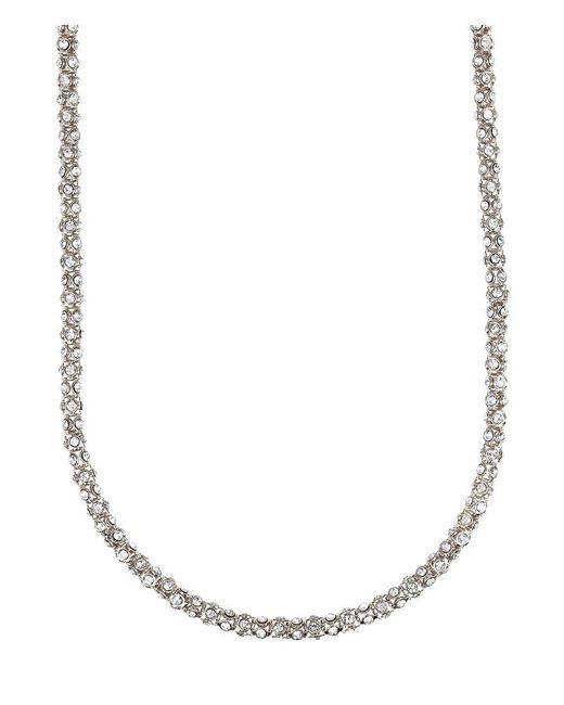 Anne Klein | Metallic Long Pavé Crystal Necklace | Lyst