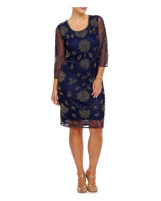 Pisarro Nights | Gray Plus Floral-beaded Sheath Dress | Lyst