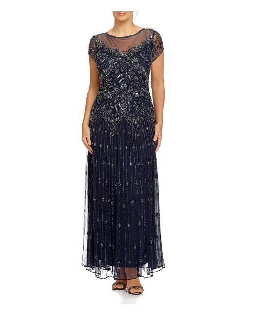 Pisarro Nights | Gray Plus Beaded Illusion Gown | Lyst