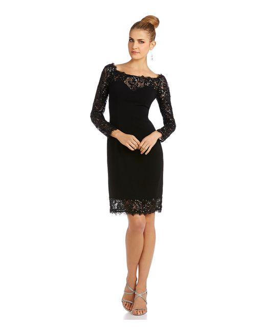 JS Collections | Black Open Neck Scalloped Lace Sheath Dress | Lyst