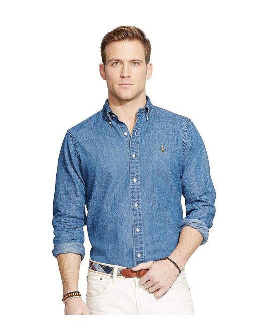 Polo Ralph Lauren | Blue Classic-fit Solid Denim Shirt for Men | Lyst