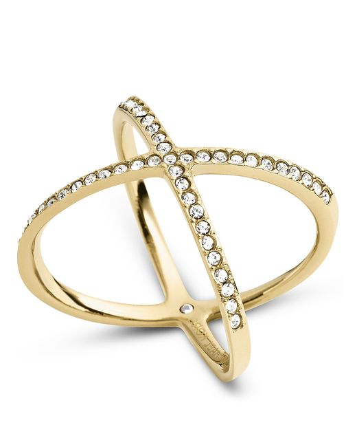 Michael Kors | Metallic Delicate Stainless Steel And Pavé X Ring | Lyst