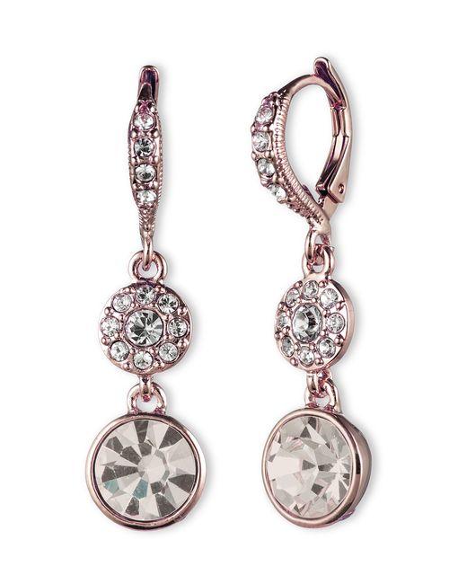Givenchy | Metallic Goldtone Swarovski Crystal Double Drop Earrings | Lyst