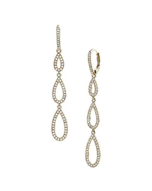 Nadri   Metallic Pavé Triple Teardrop Linear Earrings   Lyst