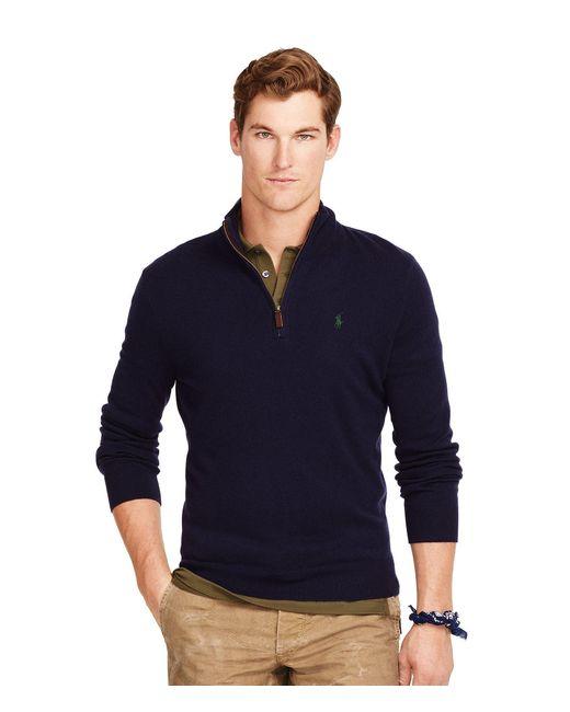 Polo Ralph Lauren | Blue Merino Mock Neck Half-zip Sweater for Men | Lyst