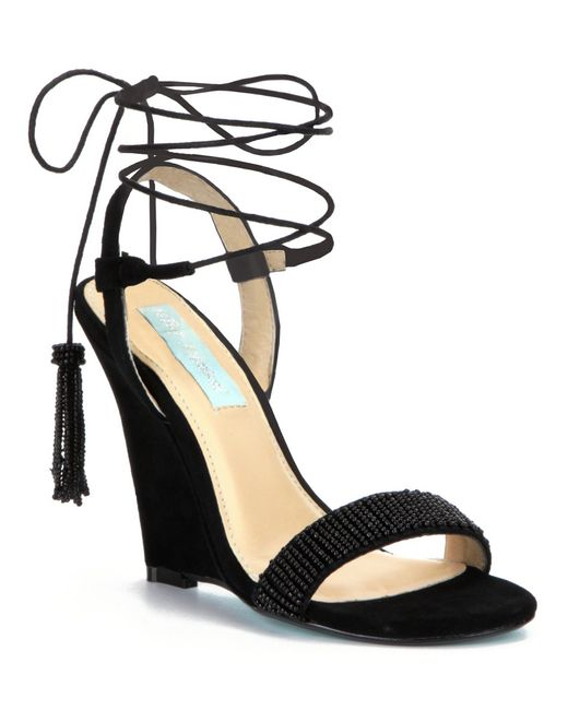 Betsey Johnson | Black Blue By Faye Evening Wedge Sandals | Lyst