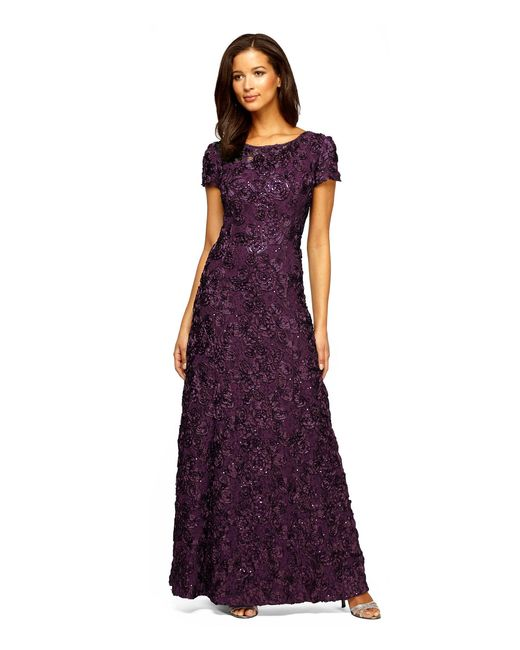 Alex Evenings Petite Sequined Lace Rosette Rose Gown In