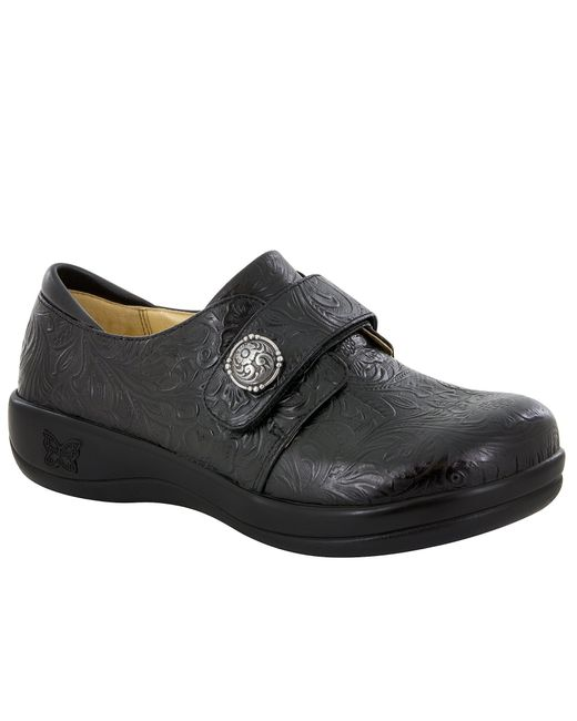 Alegria | Black Joleen Tooled Pattern Stain-resistant Leather Slip-ons Clogs | Lyst