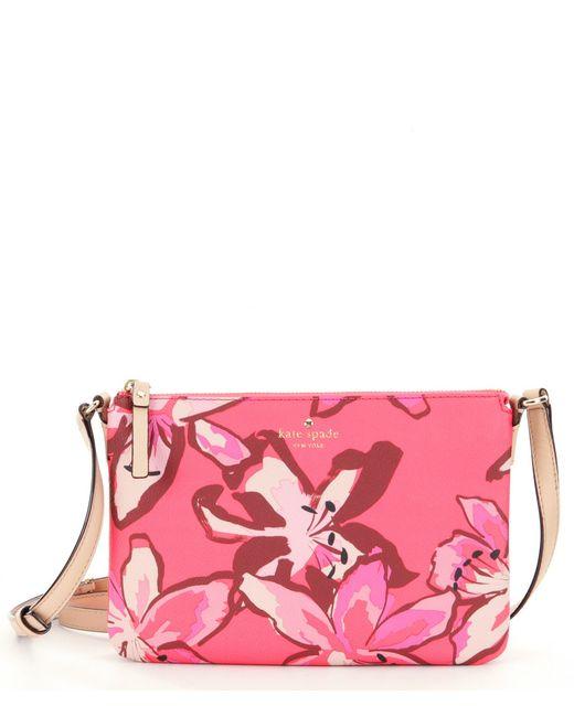Kate Spade Hawthorne Lane Floral Carolyn Cross-body Bag In Pink (Surprise Coral) | Lyst