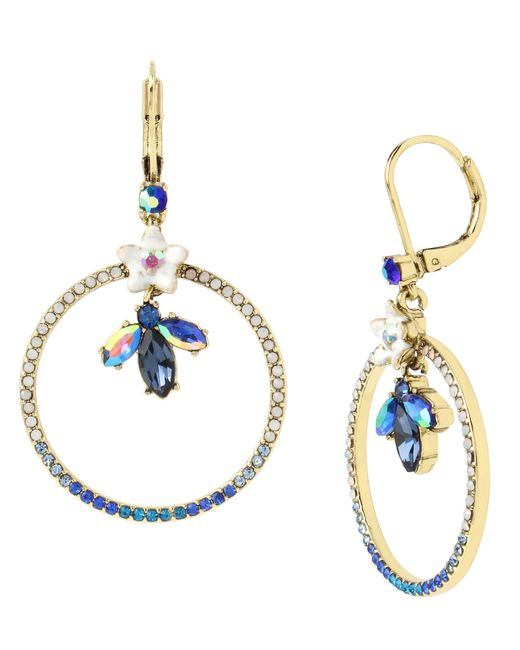 Betsey Johnson | Gold Tone Blue Fish Mismatch Linear Earrings | Lyst