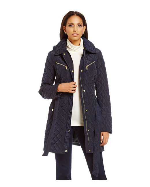 MICHAEL Michael Kors | Blue Tie Front Quilted Trench | Lyst