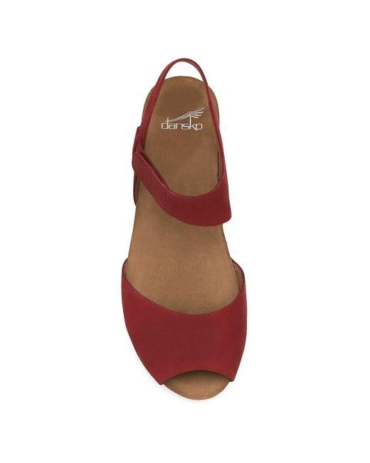 Dansko Vera Nubuck Peep Toe Ankle Strap Low Wedge Sandals