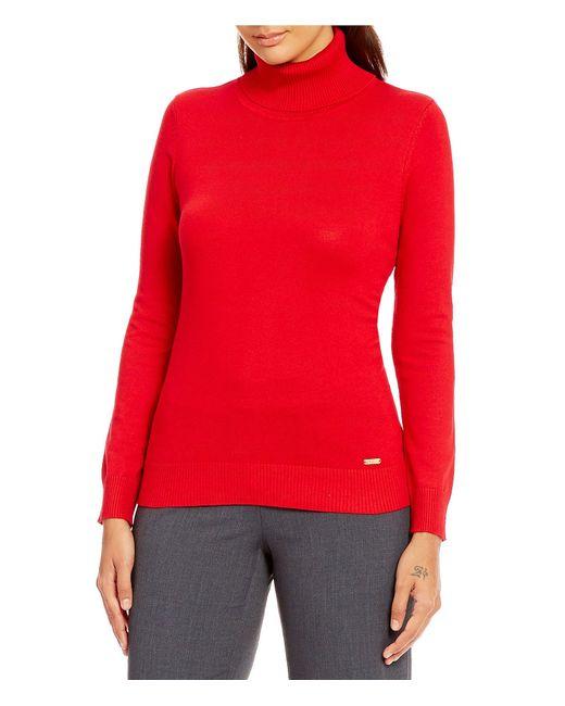 Calvin Klein | Red Knit Turtleneck Sweater | Lyst