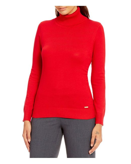 Calvin Klein | Red Ribbed Fine Gauge Turtleneck Sweater | Lyst