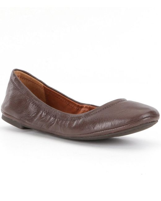 Lucky Brand | Brown Emmie Leather Round-toe Ballet Flats | Lyst