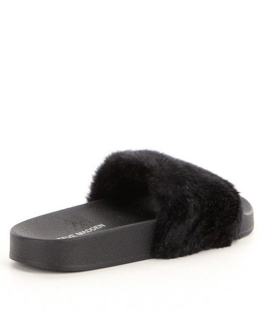 Steve Madden Softey Faux Fur Slide On Sandals In Black Lyst