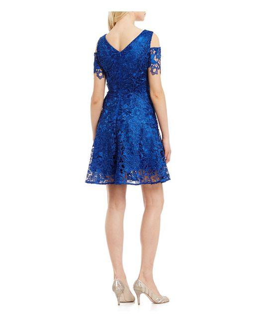 Tahari Cold Shoulder Lace Fit Amp Flare Dress In Blue Save