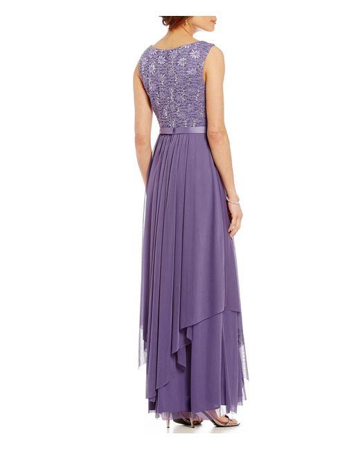 R Amp M Richards Petite Sequined Lace Chiffon Jacket Dress