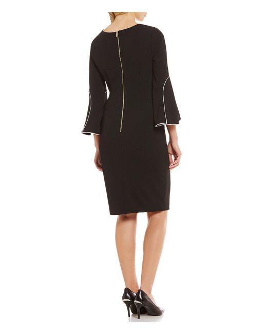 Calvin Klein Bell Sleeve Pipe Trim Sheath Dress In Black