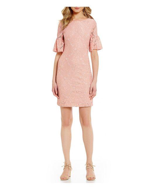 Ivanka trump Ruffled Bell Sleeve Lace Dress in Pink | Lyst