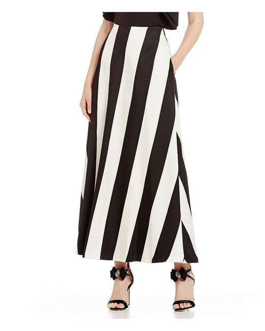 Belle By Badgley Mischka | Black Sienna Striped Maxi Skirt | Lyst