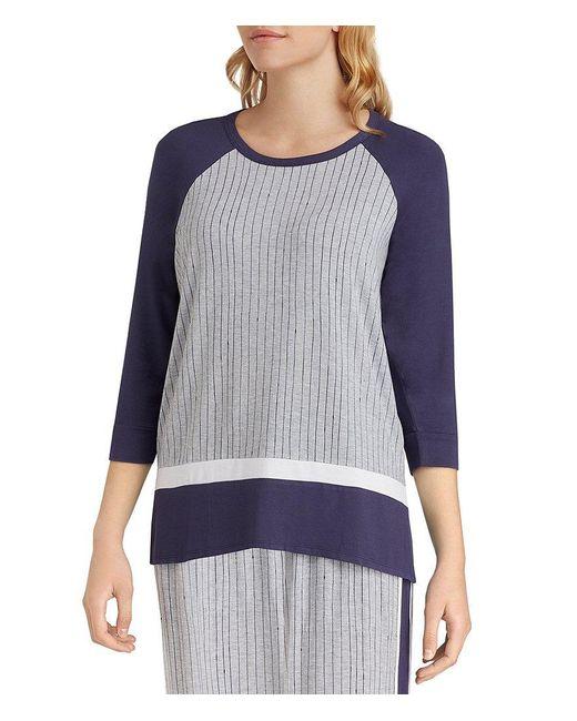 DKNY   Gray Plus Stripe-print Jersey Sleep Top   Lyst